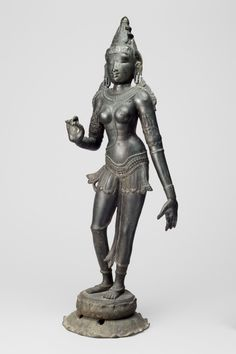 Philadelphia Museum of Art - Collections Object : Processional Image of a Hindu Goddess Geography: Made in Tamil Nadu, India, Asia or Sri Lanka, Asia Date: c. 11th century Medium: Bronze Dimensions: 25 1/2 x 9 1/2 x 6 3/4 inches (64.8 x 24.1 x 17.1 cm) Curatorial Department: South Asian Art Object Location: Currently not on view Accession Number: 1994-148-64 Credit Line: Stella Kramrisch Collection, 1994