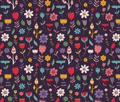 florals fabric by khandisha on Spoonflower - custom fabric Fabric Printing, Custom Fabric, Spoonflower, Florals, Wallpapers, Prints, Floral, Flowers, Wallpaper