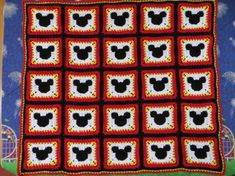 ****Pattern Only****    This Mickey Mouse Blanket pattern is my own design. Mickey Mouse is crocheted into the square, it is on both sides of