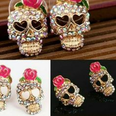 Roses cute ear stud Earrings Fashion womens lady elegant roses, skulls earrings , super cute Jewelry Earrings