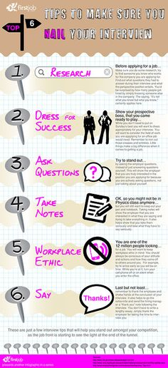 Top 6 tips to make sure you NAIL your job interview INFOGRAPHIC. Signup at FirstJob for entry level and internship jobs #jobs #jobsearch #careers #interview #jobinterviews #jobhunting #unemployed #internships #firstjob