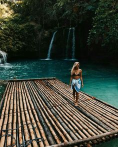Bamboo rafts in paradise || The waterfalls aren't a bad touch either