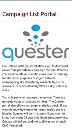 QUESTER & CASPER ONLINE SEARCH AND INVESTIGATION PORTALS FROM GLOBAL DATA Find new clients in any industry or locate missing people straight from your mobile phone or laptop.  Contact Dominic Crupi  for a trial and demo dominic@globaldata.net.au