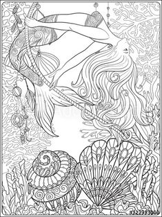 Hand drawn mermaid with gold fish in underwater world coloring page | Adobe Stock