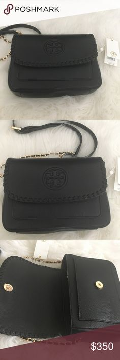 NWT Tory Burch Marion Mini Bag Brand New with Tags Beautiful Pebbled Leather Gold Hardware  Magnetic flap Closure with slip pocket under flap. H: 6.5 in, L: 9.5 in, W: 3 in Comes with dust bag Tory Burch Bags Mini Bags