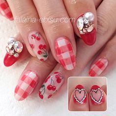 赤のギンガムチェック×チェリー❤︎ #nail #nails #nailart #naildesign #newnails #gelnails #nailstagram #instanail #ネイル #春ネイル #チェリーネイル #チェックネイル #ギンガムチェック #恵比寿