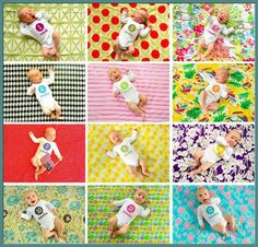 Monthly Baby Photos print all in wallet sizes and frame together. Love the different blankets!