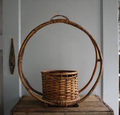 vintage hanging planter basket rattan bamboo by littlebyrdvintage, $40.00