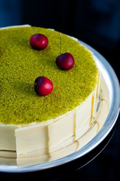 Pierre Herme's cheesecake Mosaic with pistachio mousse & cherries by zencancook.com
