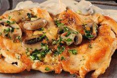 Куриное филе запеченное с сыром и грибами в духовке
