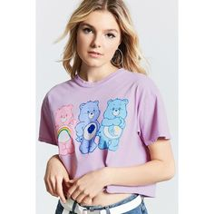Forever21 Care Bear Cropped Graphic Tee ($16) ❤ liked on Polyvore featuring tops, t-shirts, crop tops, short sleeve crop top, purple graphic tees, short sleeve tops and purple crop top