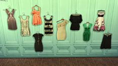 leo-sims:  DECO CLOTHES             Everyone has an obsession with some type of cc. I think mine is clothes. I really love to decorate my bedrooms, wardrobes with amazing clothing decors. That is why i do these too much. Here comes 2 more sets. I hope you like them too. Mesh is from Aikea Guinea - one tile wall writing from sims 2 Textures from Chrisa - Sims 2 Found at wall deco DOWNLOAD
