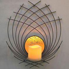 metal+væg+kunst+væg+udsmykning,+særlig+form+lysestage+væg+udsmykning+–+DKK+kr.+627