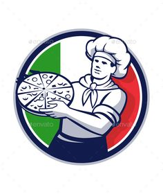 Buy Pizza Chef Holding Pizza Italy Flag Retro Circle by patrimonio on GraphicRiver. Illustration of a pizza chef baker holding pizza viewed from front set inside circle with italy flag in the backgroun.