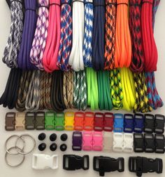 550 Paracord Survival Bracelet Kit Type III 7 Strand with 250 Feet and 25 3/8' Buckles ~ 25 Colors At 10 Feet Each ~ Made in USA -- This is an Amazon Affiliate link. Want to know more, click on the image.