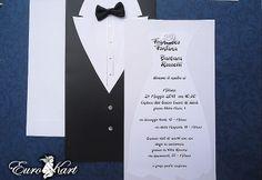 Partecipazione di nozze a forma di vestiti nuziali. Modello divertente e originale.