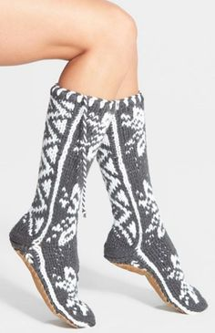 """""""Winter Flurries"""" Slipper Socks. Stay cozy and warm all winter long with the """"Winter Flurries"""" slipper socks from Lemon! These knit socks are super soft. A traditional pattern and twisted tassels charm thick and cozy mukluk-inspired slipper socks. 