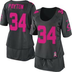 $79.99 Women's Nike Chicago Bears #34 Walter Payton Limited Breast Cancer Awareness Dark Grey Jersey