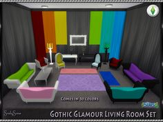 "srslysims: "" **Srsly's Gothic Glamour Living Room Set** Here we have another favorite of mine, the Gothic Glamour living room set from Sims 3 for Sims 4. There is a total of 20 items included in this..."