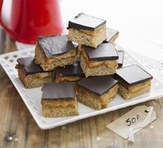 Chocolate & caramel flapjacks recipe, These sweet and sticky treats are best made a day in advance - perfect if you need to get ahead for a bake sale Bbc Good Food Recipes, Baking Recipes, Sweet Recipes, Cake Recipes, Dessert Recipes, Yummy Food, Bbc Recipes, Baking Ideas, Recipies
