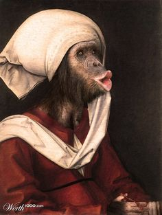 """Mother of evolution"" anthropomorphic portrait of a monkey in a famous painting"