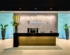 office design, reception feature wall five interiors