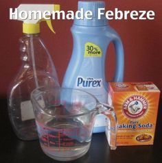 DIY Fabreeze cup of your favorite fabric softener 2 Tbsp baking soda Hot water spray bottle oz) Add fabric softener and baking soda to spray bottle. Fill the rest of the bottle with hot water. Use as you would Febreeze. Homemade Cleaning Products, Cleaning Recipes, Cleaning Hacks, Cleaning Supplies, Dog Supplies, Diy Hacks, Diy Cleaners, Household Cleaners, Cleaners Homemade