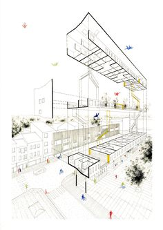 Adam MASSET - Social Housing - La Cambre Horta 2015 #perspective #explode #hand…