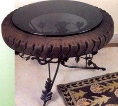 Recycled tire table - Creative and Cool Ways To Reuse Old Tires 9 Tire Furniture, Car Part Furniture, Cool Furniture, Furniture Design, Recycled Furniture, Modern Furniture, Reuse Old Tires, Reuse Recycle, Recycled Tires