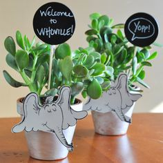 """Horton Flower Pots - Inspired by Dr. Seuss' """"Horton Hears A Who"""" - a kid-friendly craft, and great for a birthday party! - Suburble.com"""