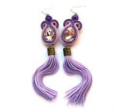 Purple tassel earrings, purple statement earrings, soutache embroidered earrings, pink crystal earrings by anatydesign on Etsy https://www.etsy.com/listing/225917421/purple-tassel-earrings-purple-statement