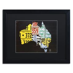 Australia License Plate Map by Design Turnpike Framed Graphic Art