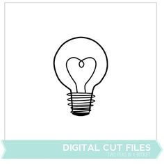 Free lightbulb (cut file or digital image) from Two Peas in a Bucket. 1 shape in PNG and SVG formats with a tutorial PDF included. #Silhouette #CutFile