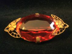 Vintage Brass and Large Faceted Red Glass Stone Brooch Pin #Unbranded