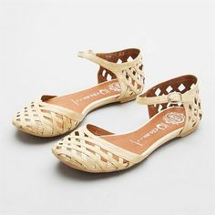 Woven flats with ankle straps