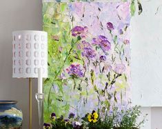 Large Art Big Painting Large Poster Flowers Oil Painting Peonies Roses Lilac Ginger Red Blue Turquoise Cipria Art Cottage Home Wall Print Ha Oil Painting Flowers, Abstract Flowers, Oil Painting On Canvas, Cherry Blossom Wallpaper, Abstract Canvas, Abstract Paintings, Oil Paintings, Palette Knife Painting, Drawing Artist