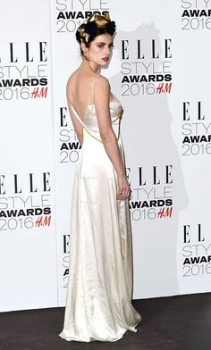 Sleek in silk. British model Tali Lennox made a chic appearance at the 2016 Elle Style Awards donning a silk floor-length spaghetti strap gown by Burberry.