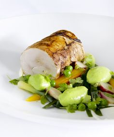 Chicken Ballotine with spring vegetables & green pea mousse