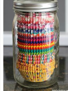 Liners in mason jar...much better than floating around random cabinets and drawers.