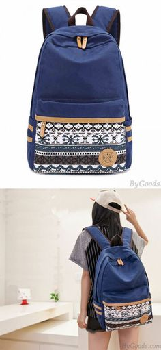 Folk Style Pure Irregular Printed Geometry Canvas Backpack for big sale ! #folk #pure #geometry #school #college #bag #backpack