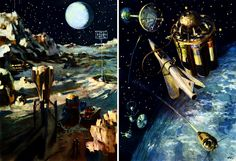 """Andrei Sokolov's colorful alien landscapes were regular feature inside the Soviet youth-oriented magazines like """"Tekhnika Molodezhi"""" and """"Yuny Tekhnik"""" in the 1970s. Another great Russian space artist was Nikolai Kolchitsky - his work mostly pre-dated space era, being published in the 1950s popular science books"""