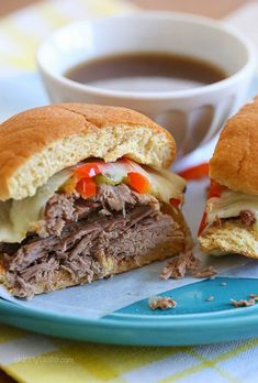 Slow Cooker French Dip Sandwiches with Caramelized Onions   Skinnytaste