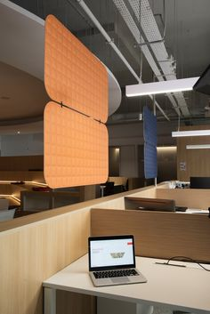 VicOffice Suspended Divider help to divide workstations with acoustic treatment. News Space, Acoustic Panels, Workspaces, Divider, Design, Home Decor, Decoration Home, Room Decor, Room Screen