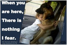 How my children feel when they're around their GSD! (Me too, all the years growing up. I sometimes even took our German Shepherd, Duke, to drive-in movie dates! Yup, he sat in the middle. My parents didn't worry about my boyfriend getting fresh! I Love Dogs, Puppy Love, Animals For Kids, Cute Animals, German Shepherd Dogs, German Shepherds, Wild Dogs, Dogs Of The World, Service Dogs