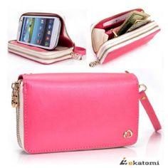 [RunWay] TULIP PINK & WHITE   Apple iPhone 4 / 4S Premium PU Leather Phone Case with Shell / Women's Wallet Wrist-let Clutch. Bonus Ekatomi ...
