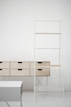 'A' room divider in paper white. Leonard plywood sideboard.  Photo James Corbett. #andnewfurniture