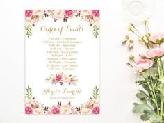 Order of Events Timeline of Events Personalized Vintage Cream Roses, Blush Roses, Wedding Welcome Signs, Wedding Signs, Wedding Graphics, Photo Booth Frame, Floral Theme, Etsy Vintage, Vintage Floral