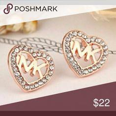 💥HOT SALE💥 Michael Kors Rose Gold Heart Earrings 💥HOT SALE💥 Michael Kors Rose Gold Heart Logo Earrings Michael Kors Jewelry Earrings