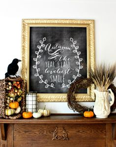 Fall chalkboard art is a quick and easy DIY fall decor idea. Fall Home Decor, Autumn Home, Fall Chalkboard, Chalkboard Ideas, Chalkboard Printable, Framed Chalkboard, Halloween Chalkboard, Kitchen Chalkboard, Chalkboard Poster