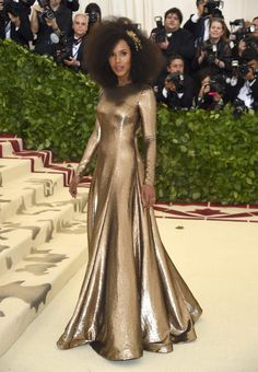 Kerry Washington in Ralph Lauren, Met Gala 2018 Gala Dresses, Satin Dresses, Nice Dresses, Gowns, Formal Dresses, Celebrity Red Carpet, Celebrity Style, Celebrity Dresses, Met Gala Outfits